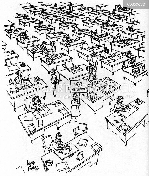 open plan offices cartoon