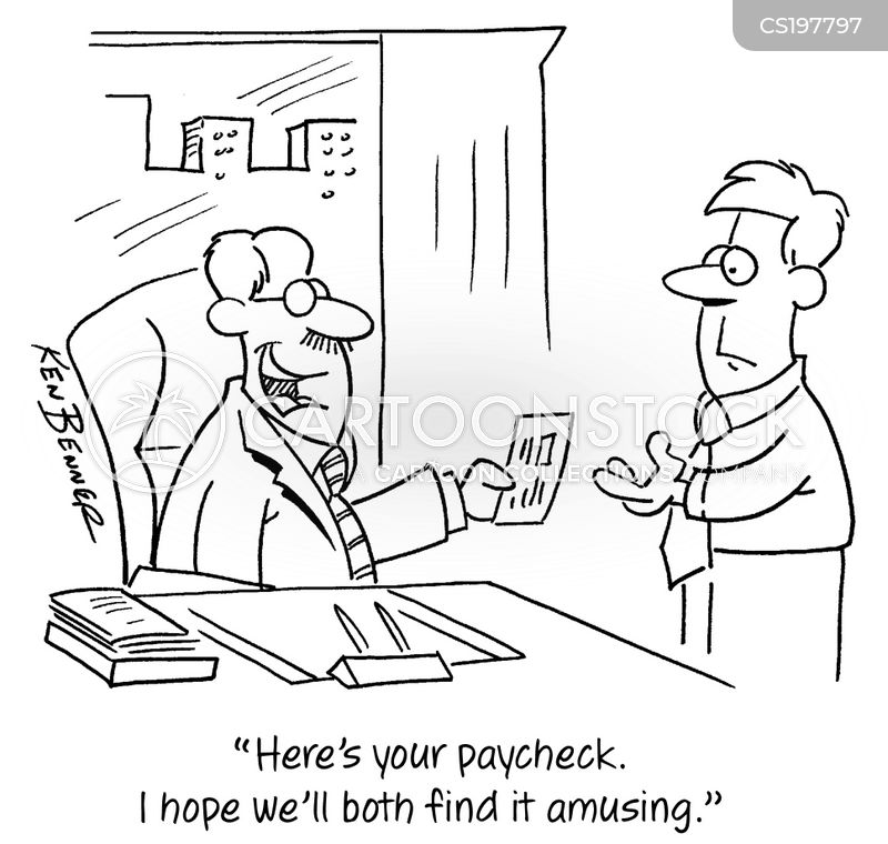 pay cheques cartoon