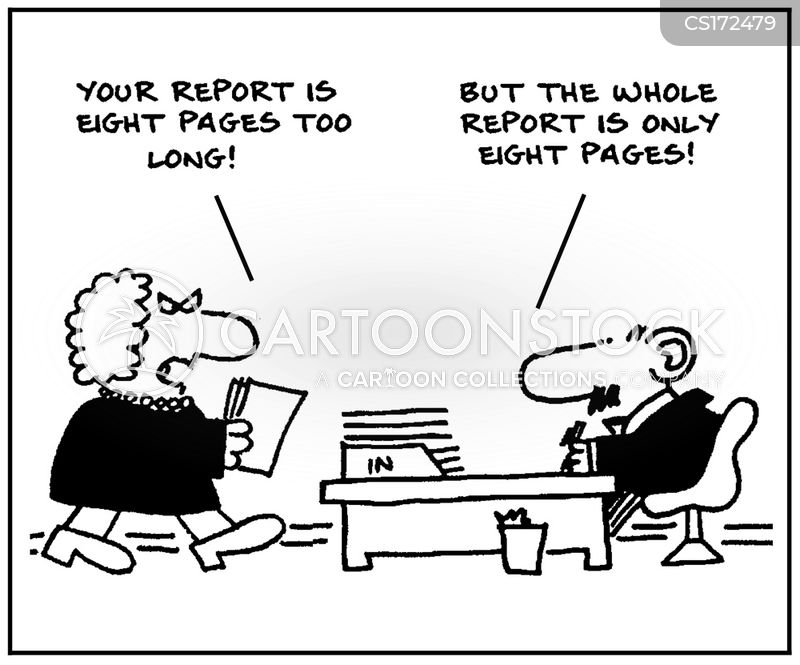 written report cartoon