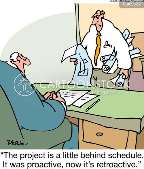behind schedule cartoon