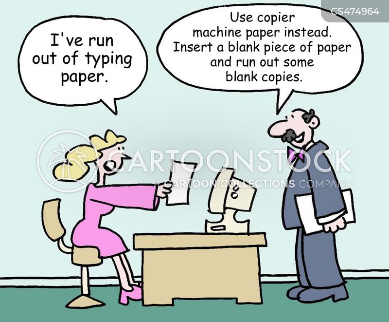 typing papers cartoon