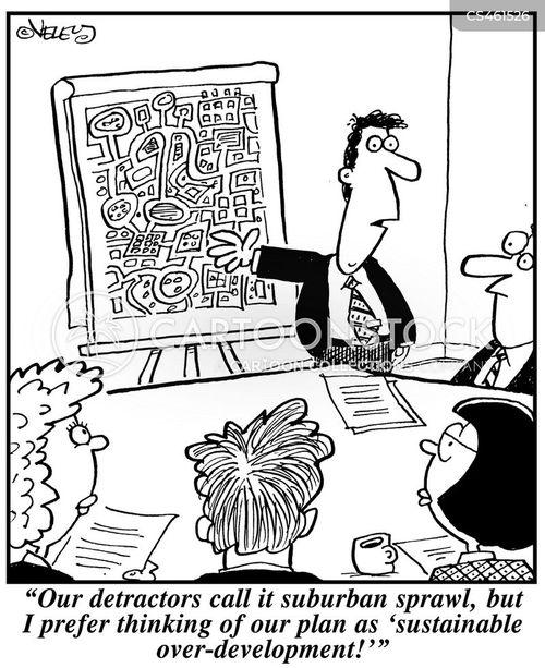 suburban sprawl cartoon
