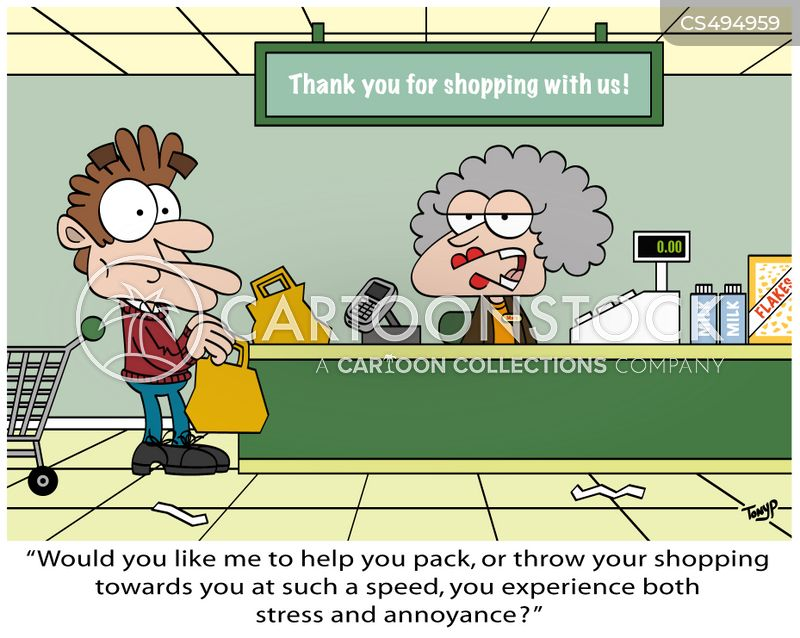 shopping experience cartoon
