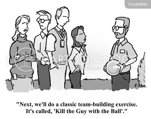 team building exercises cartoon