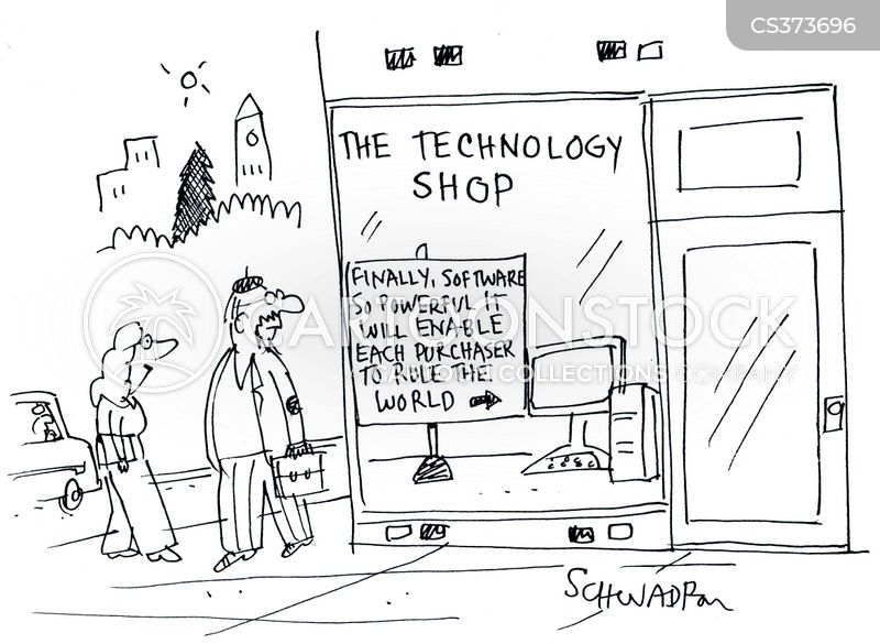 electronic shops cartoon