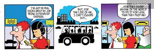 job outsourcing cartoon