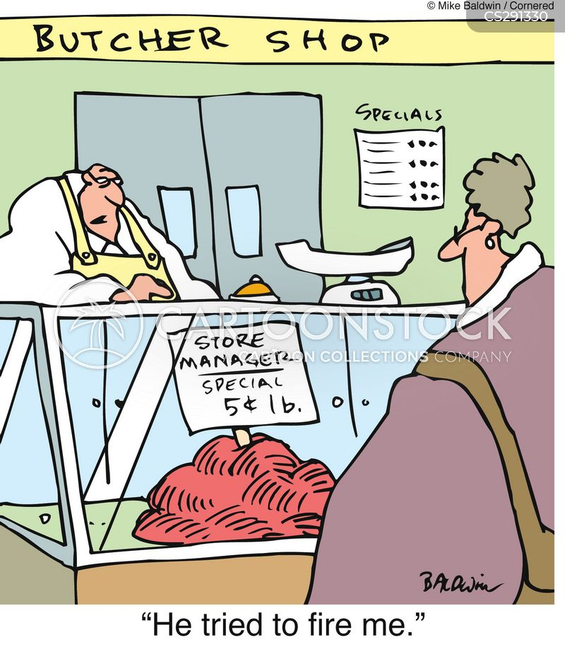 meat counter cartoon