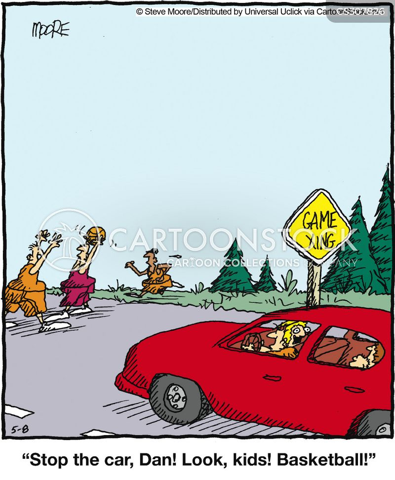 Illustration of car stopped at pedestrian crossing - Braked Cartoons And Comics Funny Pictures From Cartoonstock