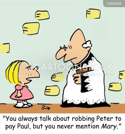 robbing peter to pay paul cartoon