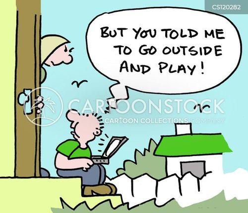 playing outside cartoon
