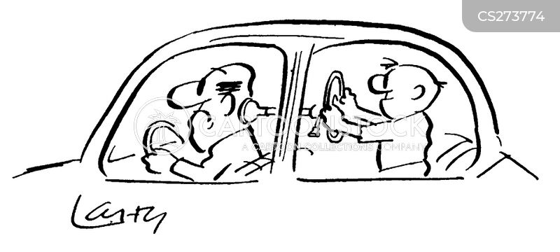 back-seat driving cartoon