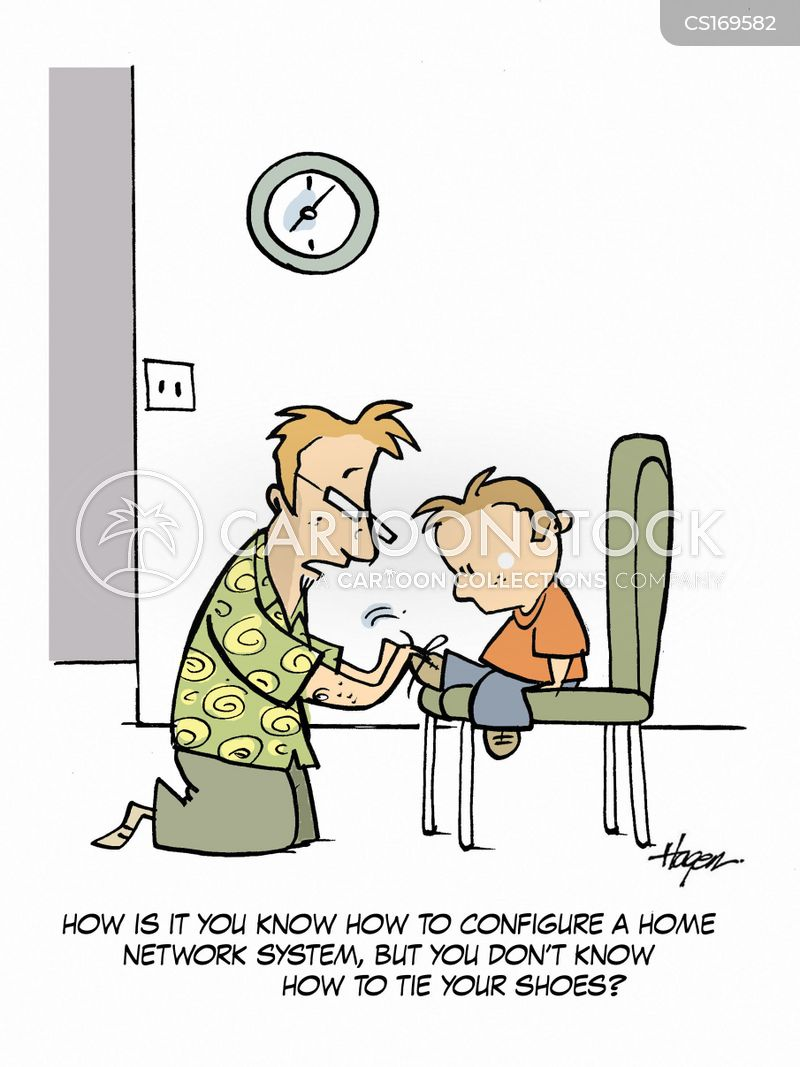 Tie shoelaces cartoons and comics funny pictures from cartoonstock how is it you know how to configure a home network system but you dont know how to tie your shoes ccuart Gallery
