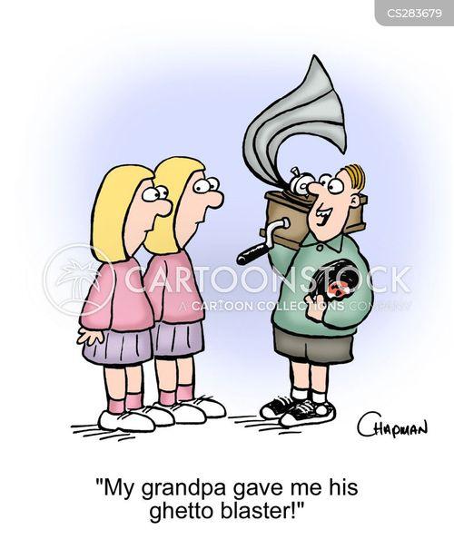 listening to music cartoon
