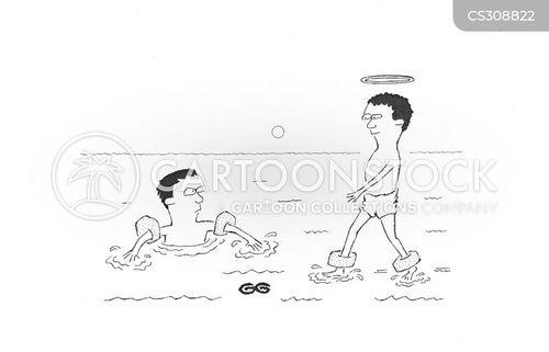 walked on water cartoon