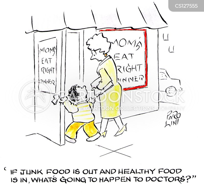 eating healthily cartoon