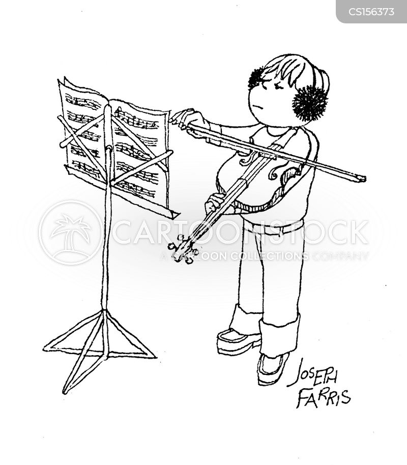 learning violin cartoon