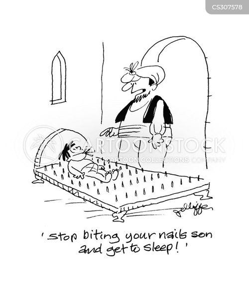 bed of nail cartoon