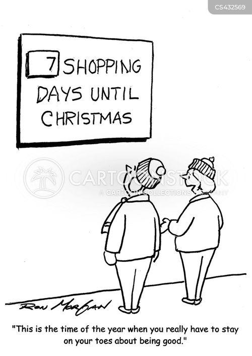 xmas shoppers cartoon