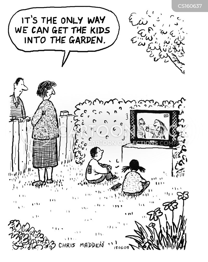playing outdoors cartoon