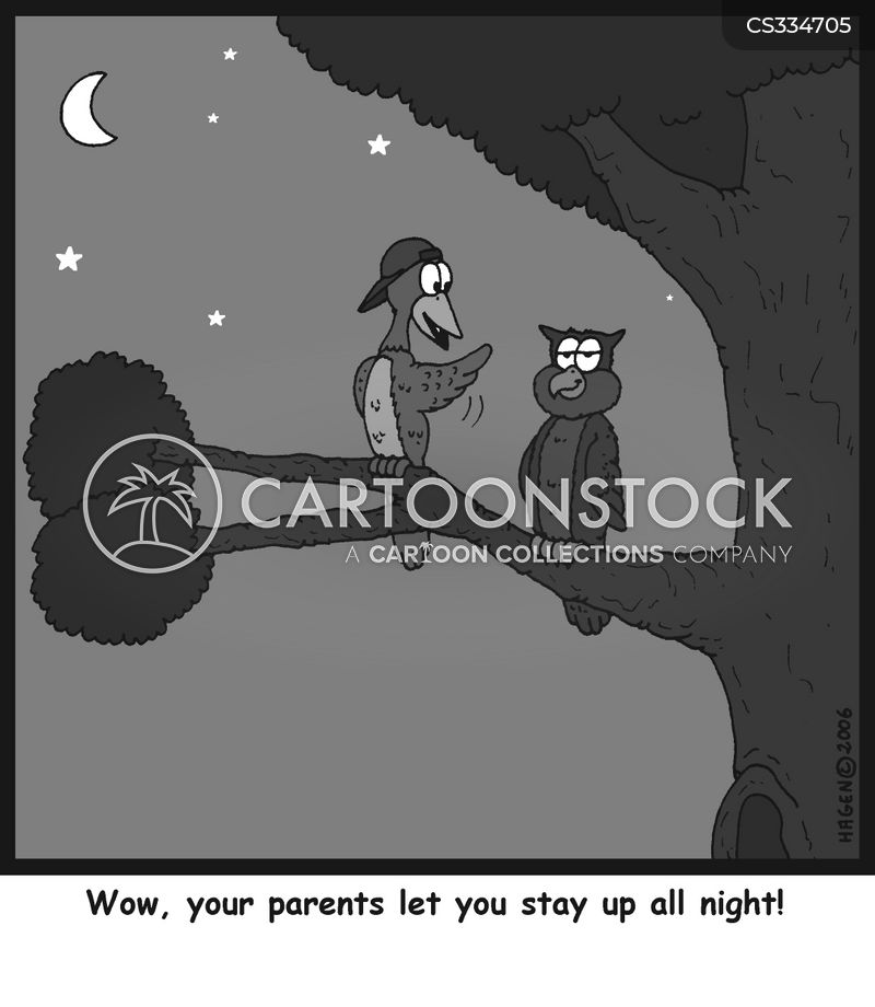 staying up late cartoon