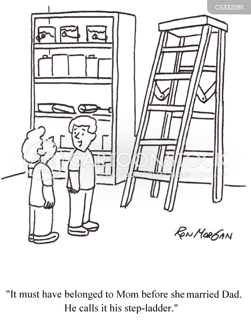 step-ladder cartoon