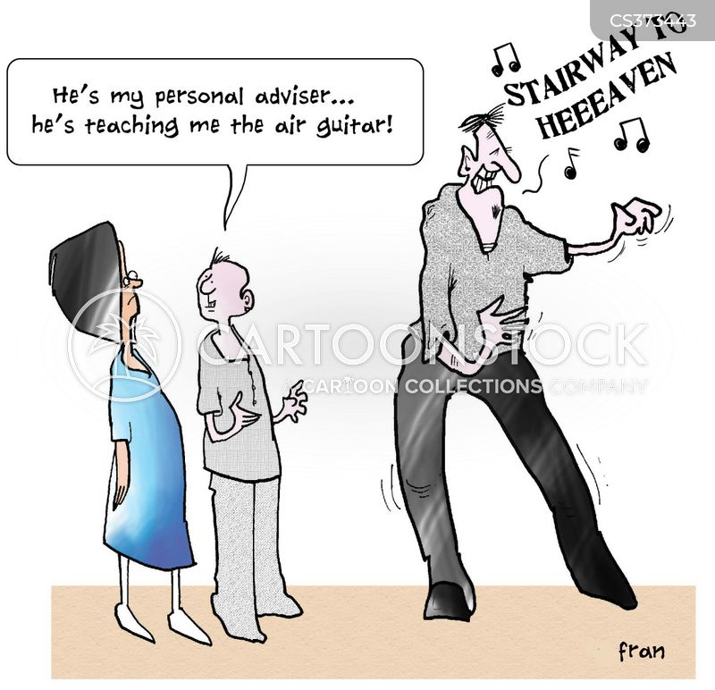 air guitarists cartoon