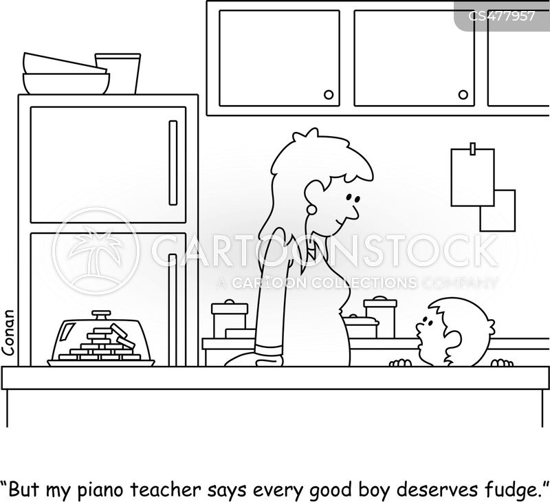 child learning piano cartoon
