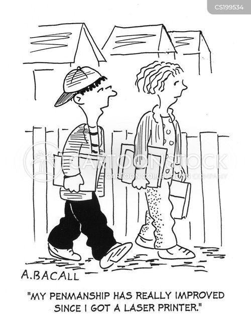 penmanship cartoon