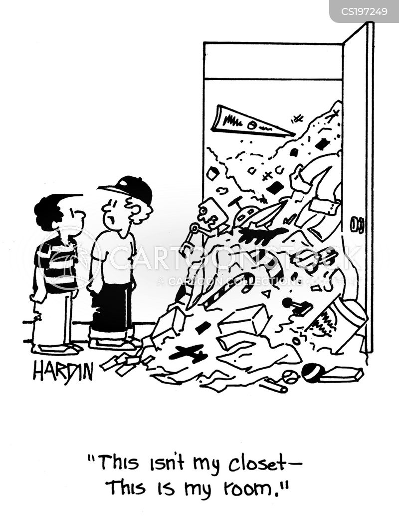 untidy room cartoon