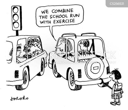 school run cartoon