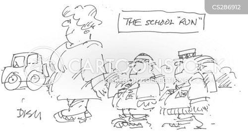 walking to school cartoon