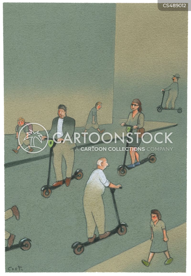 scooting cartoon