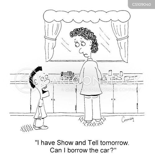 borrow the car cartoon