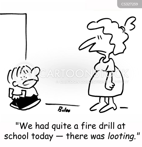 fire drill cartoon