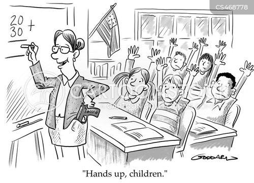 armed teacher cartoon