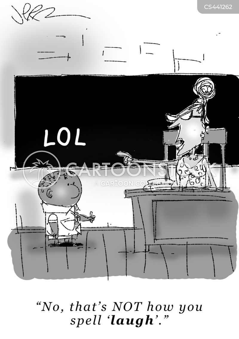 spelling exam cartoon