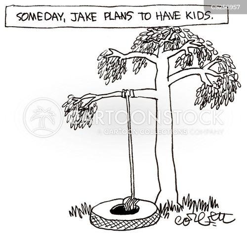 tree swings cartoon