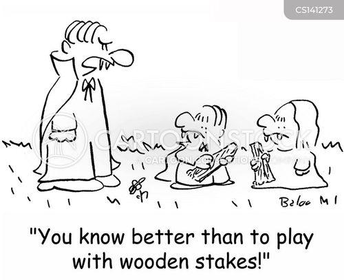 wooden stake cartoon