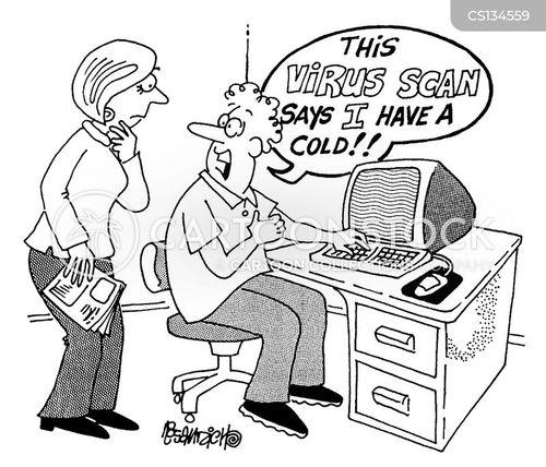 virus scans cartoon