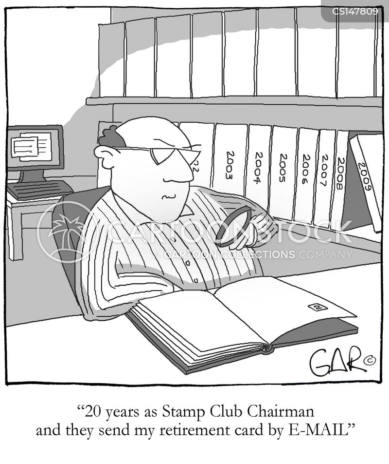 stamp collector cartoon