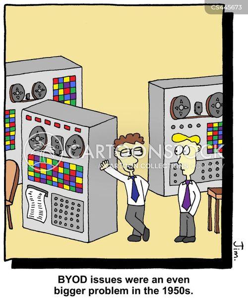 old computers cartoon