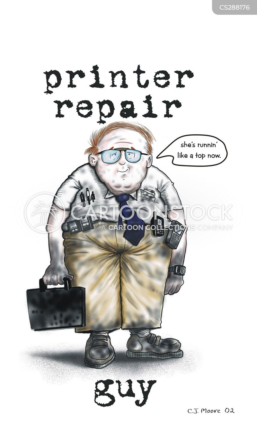 printer repairs cartoon