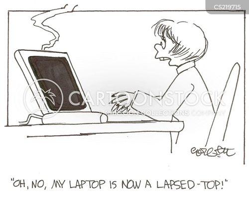 broken computers cartoon