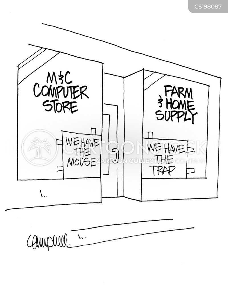 computer shops cartoon