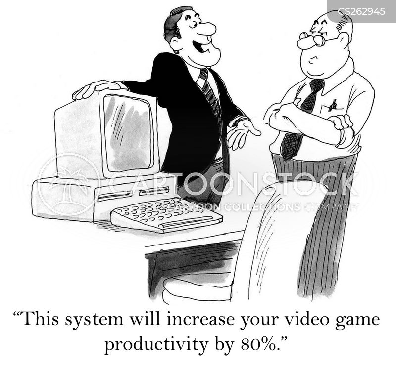 computer gamers cartoon