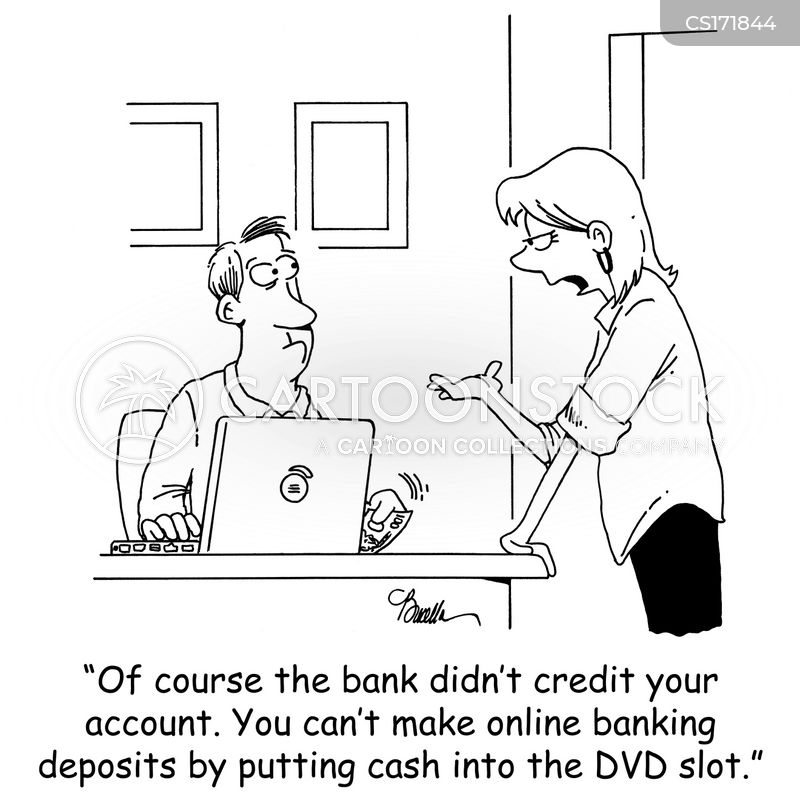 online bank cartoon