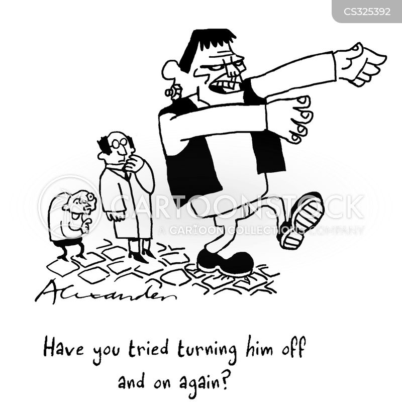 turn on and off again cartoon