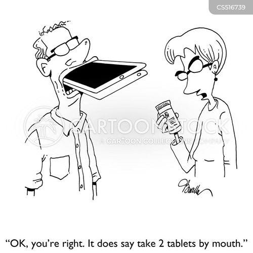 smart tablet cartoon