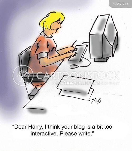 blogging online cartoon