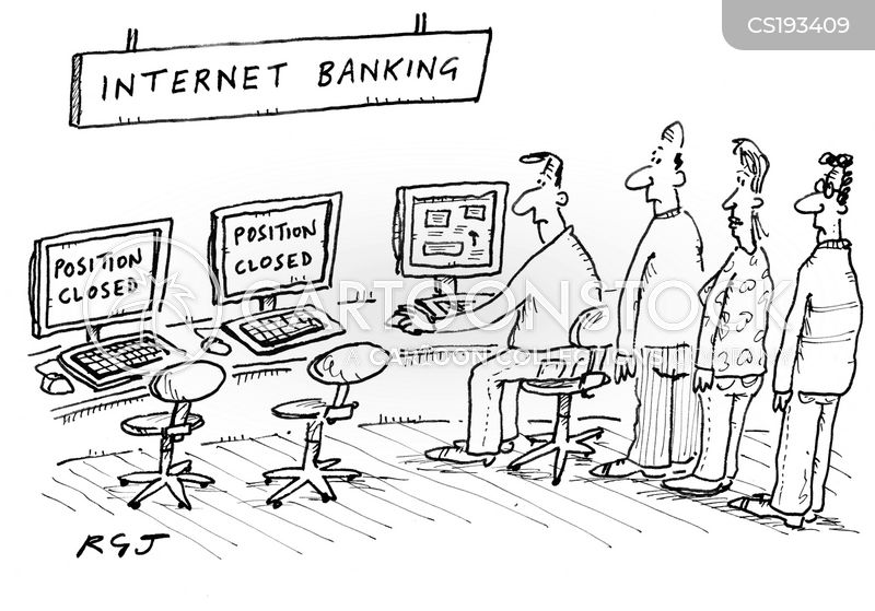 online bank account cartoon